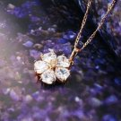 18K gold plated necklace & pendant set swarovski crystal hearts flower design