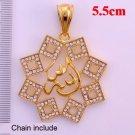 Fashion 18k GP Zircons Allah Design Pendant & Necklace ! Islam Gift & Jewelry
