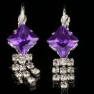 Fashion Silver Plated purple zircon gemstone stud earrings ! Gift Jewelry & Love