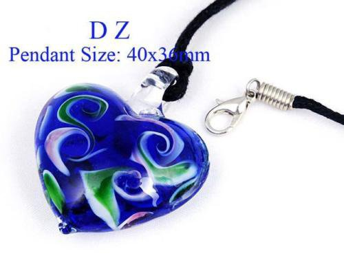 g616487 Gark Blue Love Heart Bead Art Murano Lampwork Glass Pendant Necklace New