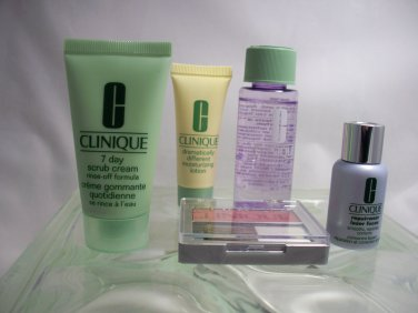 Clinique 5 pcs Repair Laser, Moisturizer, 7 Day Scrub, Blush & Take Day Off