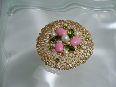 Vintage Sarah Coventry Mid 20th Century Large brooch w/ cabochons & faux gems