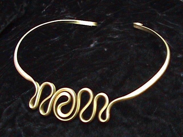 Yin-Yang Collar Necklace Shown in Brass.