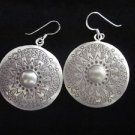 Fashion Fine silver earrings solid circle vintage Hill tribe charming engrave