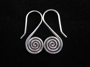 Fashion Fine solid silver earrings Hill tribe thai karen dangle spiral hang gift