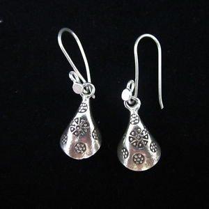 Fashion earrings Hill tribe Genuine silver thai karen tribal Engraved Tube ER21