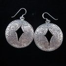 Fashion earrings Hill tribe Genuine silver thai karen tribal lotus engrave ER120
