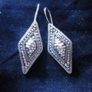 Fashion earrings Hill tribe Genuine silver thai karen tribal cool trapezoid er55
