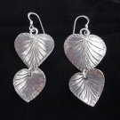 Hill tribe silver earrings thai karen Fine solid handmade lovely leaf E44