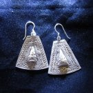 Fashion earrings Hill tribe Genuine silver thai karen tribal fine engraved er54