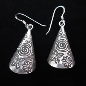 Fine silver earrings Hill tribe thai karen Handmade tube shape spiral flower