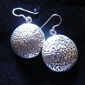 Fashion earrings Hill tribe Genuine silver thai karen tribal circle cool ER124