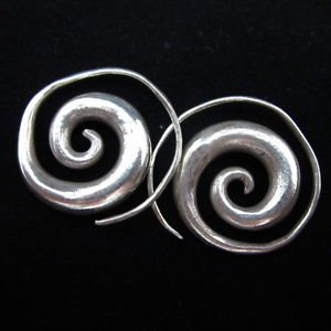 Fashion earrings Hill tribe Genuine silver thai karen tribal Big spiral ER92B