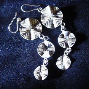 Fashion earrings Hill tribe Genuine silver thai karen tribal triple circle ER129