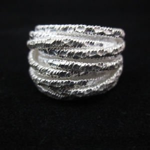 Fine Silver Rings THAI HANDMADE KAREN HILL TRIBE Kuchi hammered twisted R146