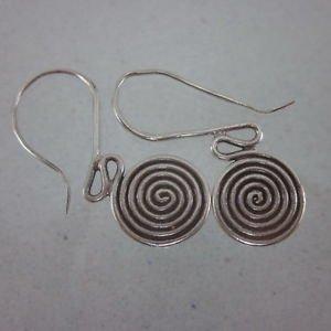 Fine silver earrings solid hill tribe thai karen vintage design spiral lady hook