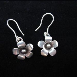 Fine silver earrings Hill tribe thai karen Handmade cute flower tiny charms gift