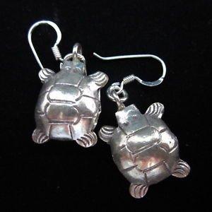 Fashion earrings Hill tribe Genuine silver thai karen tribal turtle bell ER138