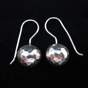 Fine silver earrings Hill tribe thai karen hammered ball solid handmade E156