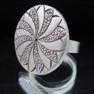 Fashion Silver Ring Thai Hill Tribe Turbina Engraved Halo Gümüş Yüzük Anillo R55