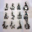 PEWTER Pendant Ciondolo Anhänger Vintage Charms Zodiac Theme SET Fashion Jewelry