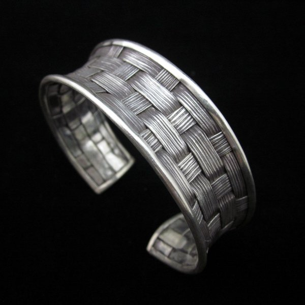 Fashion Silver Bangle Bracelet Braccialetto Hill Tribe Weave Welle Arm Band B13