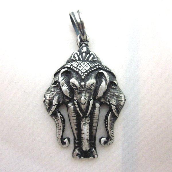 PEWTER Pendant Ciondolo Anhänger Hindi Erawan Airavata 3 heads God Elephant W7