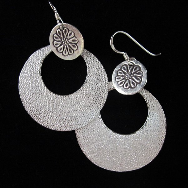 Fine Fashion Silver Earrings Round Handcrafted ELEGANT Pendientes de plata E133