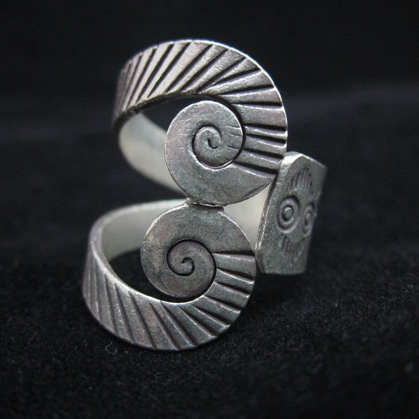 Fashion Silver Ring Thai Twist Spiral Swirl OPEN Plata Anillo Argento Anello R70