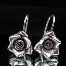 Fashion Silver Earrings Rose Cute Drop Dangle Schmuck Rosa Ohrringe Silber ER159