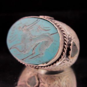 Islamic ring 925 Sterling Silver Handmade Turquoise Ayat al-Kursi engraved IS06