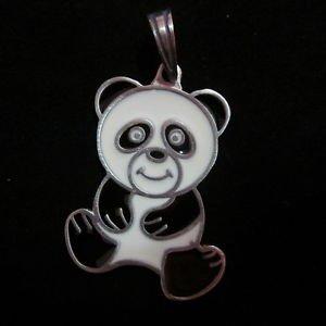 Fashion Pendant Ciondolo Anhänger PEWTER Teddy Bear Panda cute Biker Hipster B12