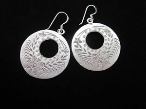 Fashion Silver Earrings Tribal Hook Dangle Donut Round Ohrringe ا�أ�راط ER166