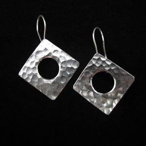 Ohrringe Silber Schmuck Fashion Silver Earrings Quadrangle Thai Hill tribe ER144
