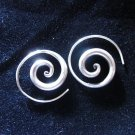 Fine Silver Earrings Spiral Round Coil By Leelaveera