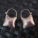 Thai Hill Tribe Earrings Fine Silver Purse shape Scratch Pattern Oxidize Black