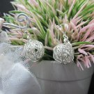 Thai Hill Tribe Earrings Pure Silver Ethnic Weave Knit Dangle Balls R502