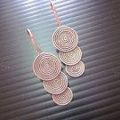 Thai Hill Tribe Earrings Fine Silver Dangle Triple Round Spiral CS1312591