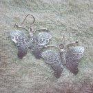 Thai Hill Tribe Earrings Fine Silver Twin Butterfly Lovely Hook CS13261