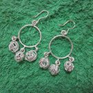 Thai Hill Tribe Earrings Fine Silver Fashions Dangle Hoops 3 nest Balls CS81259