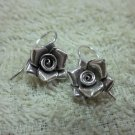 Thai Hill Tribe Earrings Fine Silver Hooks Vintage Rosa Flower Rose CS194604