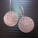 Thai Hill Tribe Earrings Fine Silver Dangle Tribal SUN Round CS9125942