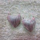 Thai Hill Tribe Earrings Fine Silver Dangle Scratch Hearts CS1716051