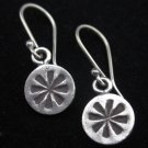 Thai Hill Tribe Earrings Fine Silver Ohrringe Argento Wind mill marked Round