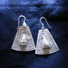Fine Silver Earrings Ohrringe Schmuck Argento Tribal Craft  trapezoid Kite ER50