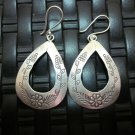 Thai Hill Tribe Earrings Fine Silver Genuine Oval Flowers and grapes