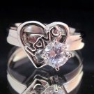 Fashion Stainless Steel Ring Size 8 Woman CZ Heart love Wedding anello ringe 6