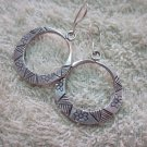 Thai Hill Tribe Earrings Fine Silver Hoop Round Flowers Engrave CS2216051