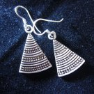 Thai Hill Tribe Earrings Fine Silver karen tribal triangle cute