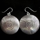 Thai Hill Tribe Earrings Fine Silver with scratch and spiral center new